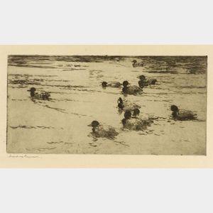 Frank Weston Benson (American, 1862-1951)  Ducks Swimming