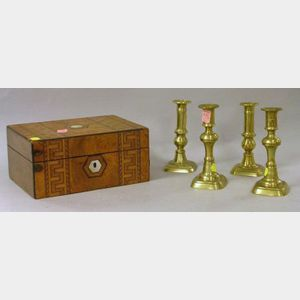 Inlaid Burl Veneer Jewelry Box and Two Pairs of Brass Candlesticks.