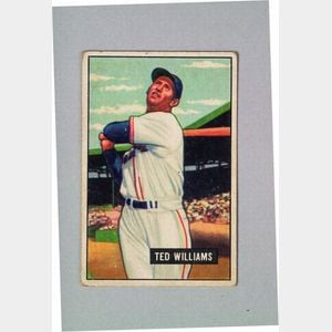 1951 Bowman Gum no. 165 Ted Williams Baseball Card.