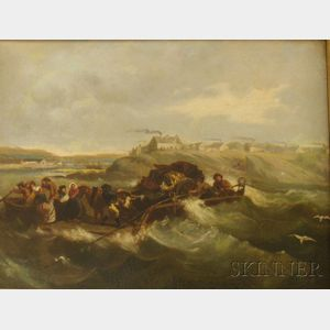 Framed 19th Century Oil on Canvas Continental School Genre Scene of   Figures Pulling a Barge Ashore