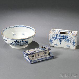 Three Blue Floral-decorated Ceramic Items