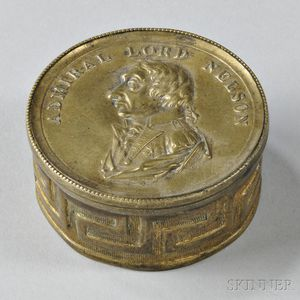 """Brass """"Admiral Lord Nelson"""" Memorial Snuff Box"""