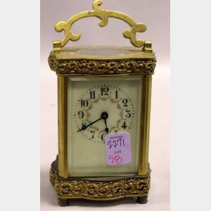 French Brass and Porcelain Carriage Clock.