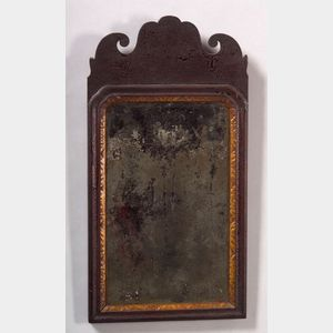 Queen Anne Walnut and Parcel-gilt Looking Glass