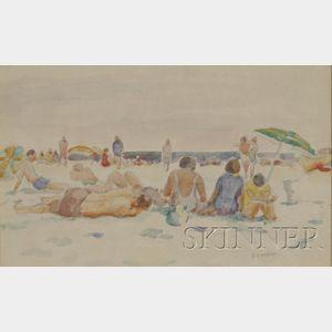 Bernard Gussow (American, 1881-1957)      Figures at the Beach