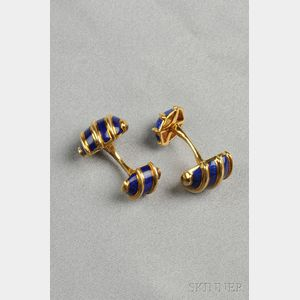 """18kt Gold and Enamel """"Olive"""" Cuff Links, Schlumberger, Tiffany & Co."""