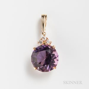14kt Gold, Amethyst, and Diamond Pendant