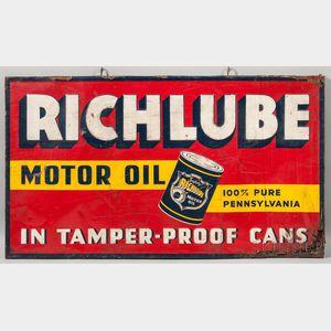 """""""Richlube Motor Oil"""" Sign"""