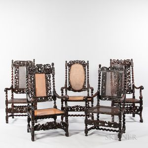 Five Carved and Caned High-back Open Armchairs