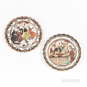 Two Polychrome Decorated Creamware Plates
