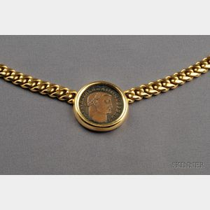 18kt Gold and Ancient Coin Pendant Necklace, Bulgari