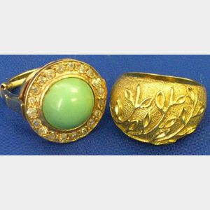 Italian 14kt Gold Branch-decorated Ring and a 14kt Gold, Diamond and Turquoise Ring.