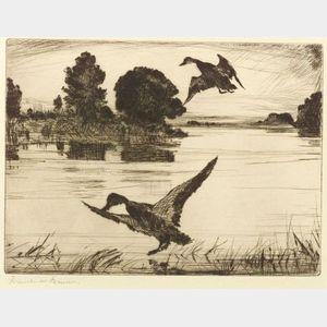 Frank Weston Benson (American, 1862-1951)  Nightfall (Second Plate)