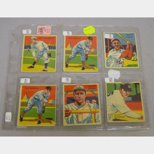 Six National Chicle Co. Diamond Stars Baseball Cards