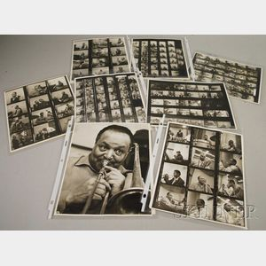 Collection of Don Bronstein (1926-1928) Photographic Contact Sheets Depicting Duke Ellington and Orchestra Members in the Recording ...