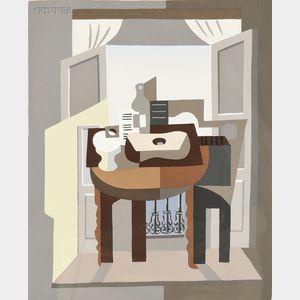 After Pablo Picasso (Spanish, 1881-1973)      Compotier, partition, bouteille et guitare devant une fenêtre