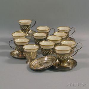 Set of Twelve Watson Sterling Silver Demitasse Frames and Saucers with Lenox   Gilt-rimmed Ivory Porcelain Liners