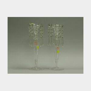 Pair of Colorless Cut Glass Candlesticks with Prisms.