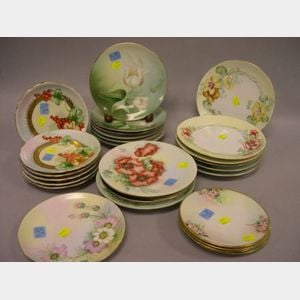 Twenty-one Handpainted Floral Decorated Porcelain Plates and a Set of Six Tulip   Transfer Decorated Porcelain Plates