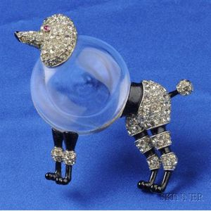 Lucite and Rhinestone Jelly Belly Poodle Brooch, Trifari