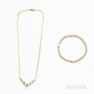 14kt Gold, Emerald, and Diamond Necklace and 14kt Gold and Sapphire Bracelet