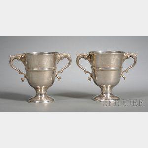Pair of Irish George II Silver Two-Handled Cups
