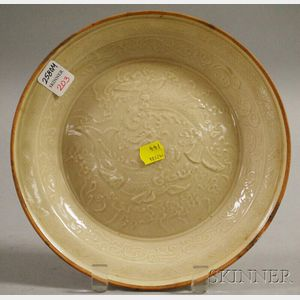 Ting-style Molded Beige Ceramic Plate