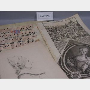 Lot of Early Manuscript Leaves and 18th/19th century Prints