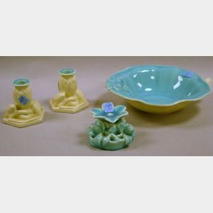 Four-Piece Rookwood Pottery Glossy Turquoise and Matte White Glazed Console Set
