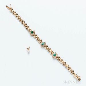 14kt Gold Gem-set Bracelet and Pendant