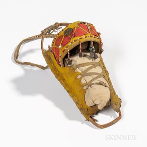 Apache Beaded Cloth, Hide, and Wood Model Cradle