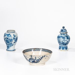 Two Delft Jars and a Pearlware Punch Bowl