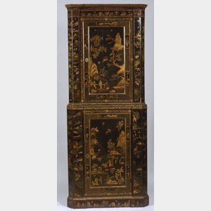 Early Georgian Japanned Two-Part Corner Cabinet