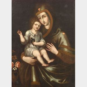 Spanish School, 18th Century Style    Madonna and Child with Finch
