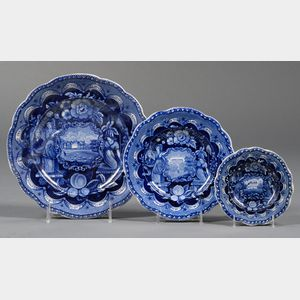 "Three Historical Blue Transfer-decorated Staffordshire Pottery ""States"" Plates"