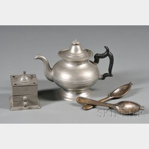 Bronze Spoon Mold and Pewter Teapot and Inkwell