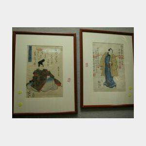 Three Framed Japanese Woodblock Prints.