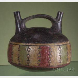 Pre-Columbian Polychrome Pottery Stirrup Spout Vessel