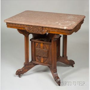 Aesthetic Movement Carved Walnut and  Marble top Table