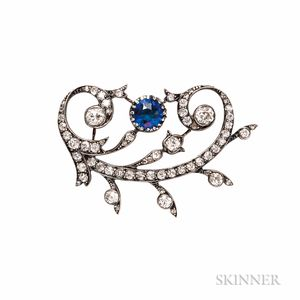 Antique Synthetic Sapphire and Diamond Brooch