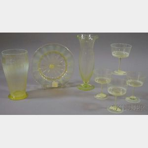 Seven Opalescent Art Glass Stemware and Table Items