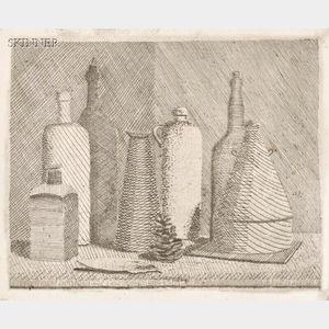 Attributed to Giorgio Morandi (Italian, 1890-1964)      Still Life with Seven Vessels and a Pinecone.