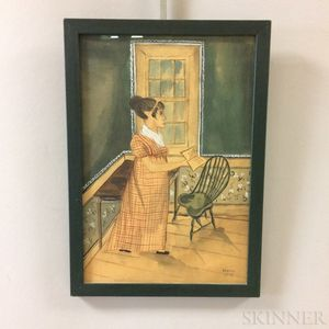 Framed Paige Koosed Contemporary Folk Art Watercolor of a Girl Reading