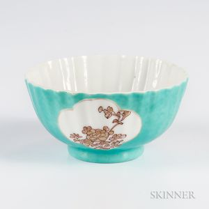Red and Gilt Turquoise-ground Bowl