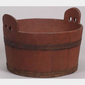 Red Painted Wooden Tub