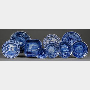 Nine Blue Transfer-decorated Staffordshire Pottery Dishes