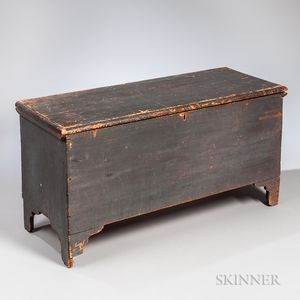 Gray/blue-painted Pine Six-board Chest on Cutout Feet