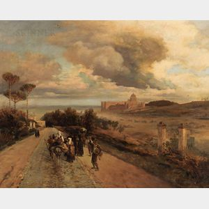 Ernesto Bensa (Italian, active c. 1863-1897), After Oswald Achenbach (German, 1827-1905)      A View of the Vatican from Via Cassia
