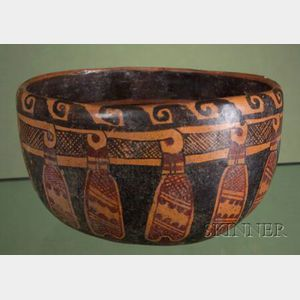 Pre-Columbian Polychrome Painted Pottery Bowl