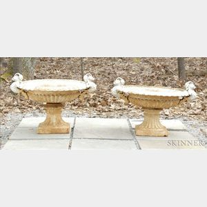 Pair of White Painted Cast Iron Pedestal Urns